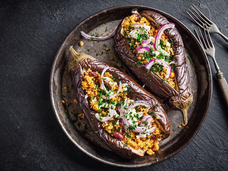 Za'atar Aubergine + Feta Salad