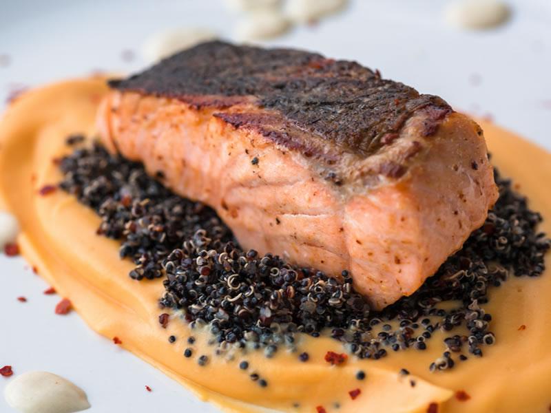 Black Quinoa + BBQ Harrisa Salmon Bowl