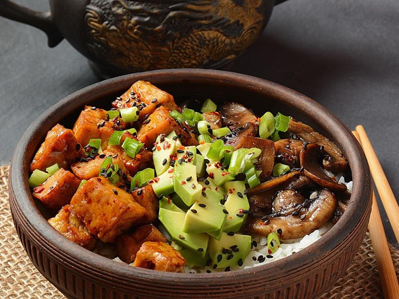Bean, Tofu, Avocado + Riceberry Bowl