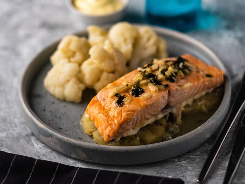 Cauliflower, Pickled Onions + Roast Salmon