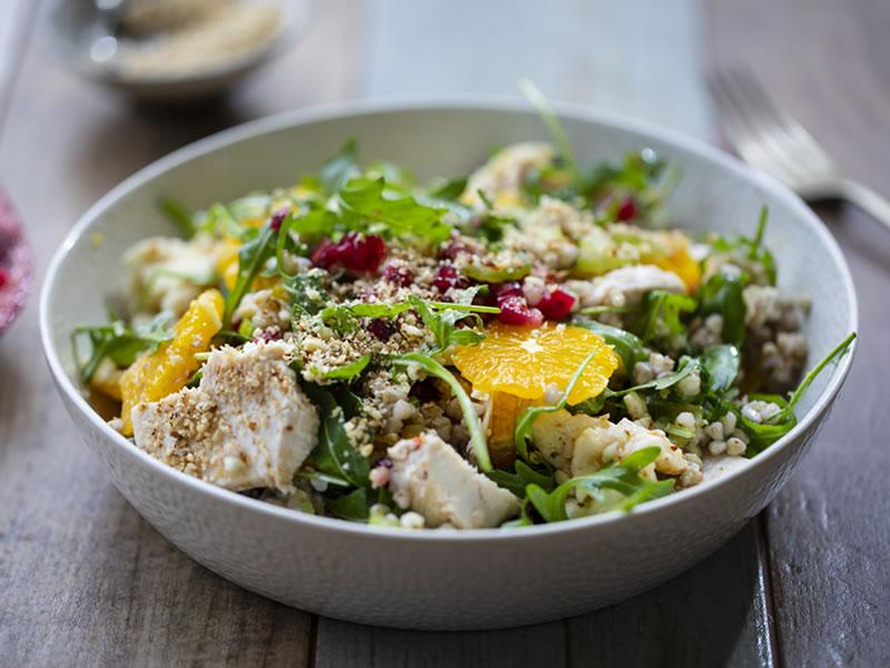 Roasted Chicken Thigh, Buckwheat + Orange Salad