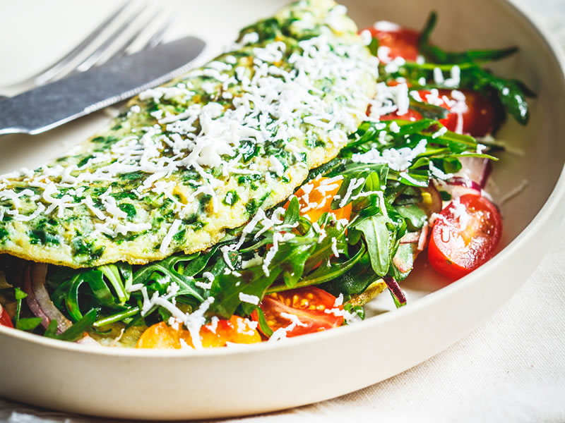 Egg White Frittata with Tomato, Spinach + Feta