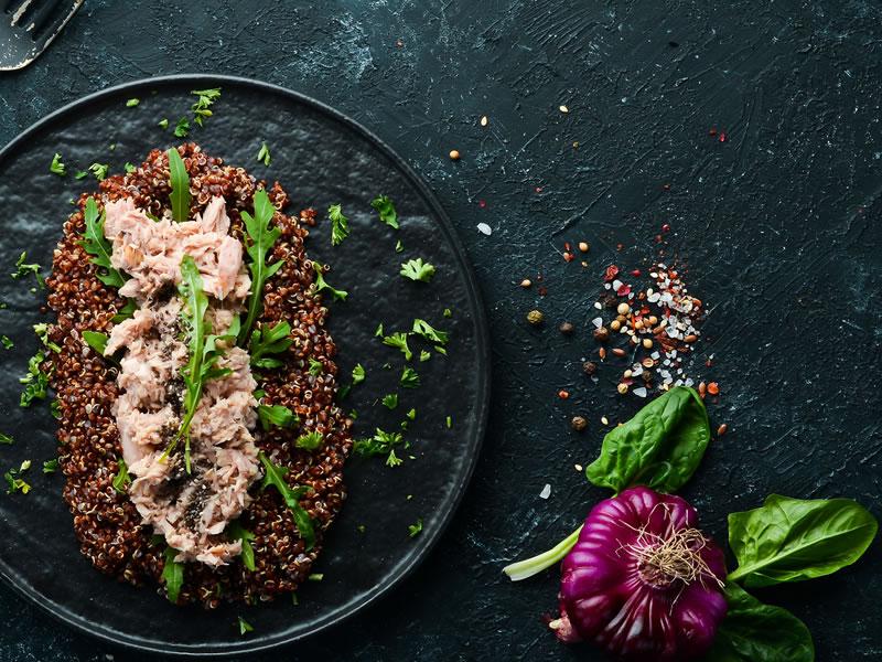 Grain + Green Bowl With Mustard Roast Salmon