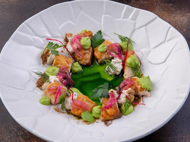 Grilled Mackerel, Soft Polenta, Peas + Rhubarb Bowl