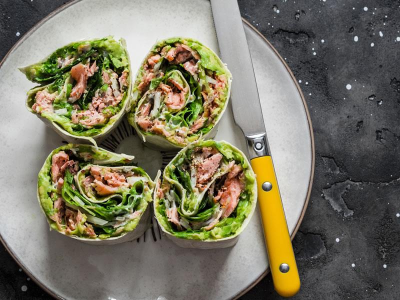 Salmon + Salsa Spinach Wrap